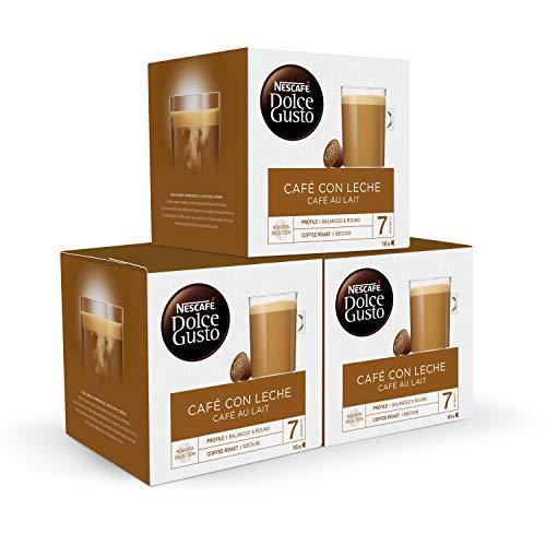 NESCAFÉ Dolce Gusto Café con Leche | Pack de 3x16 cápsulas de café - Total: 48 Cápsulas de Café