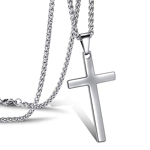 cersaty® Kreuz kette Edelstahl Kreuzkette Kreuz Anhänger Taufgeschenke Silberfarbene Ketten für Herren Damen ,mit 60cm Religiöser Schmuck Christliche Halskette