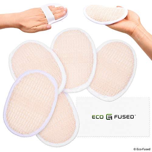 Almohadillas de esponjas (Paquete de 5) - Esponjas Exfoliantes - Material Algodón Suave - Producto esencial para el cuidado de la piel - Para ducha/baño - Textura fibrosa - Perfecto para lavado