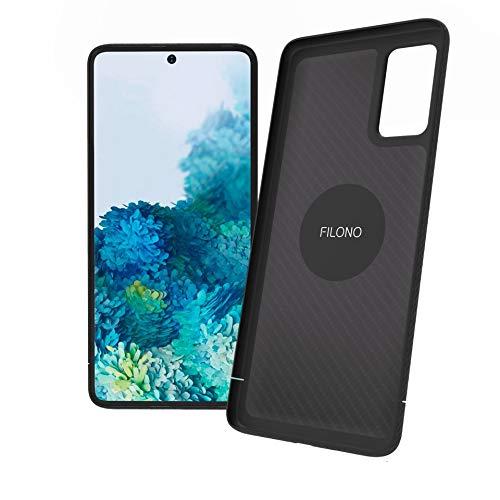 FILONO Samsung Galaxy S20 + Hülle Magnet-fixierbar Carbon ultradünn Kratzfest, schwarz-matt-chic