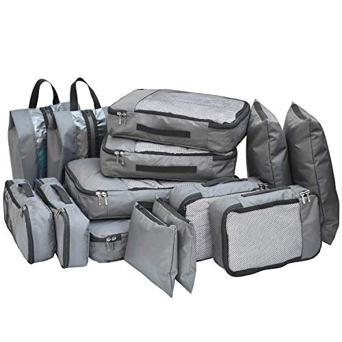 FATMUG Polyester Bag Organizer with Packing Cubes, Shoe Bags & Storage Bags (Set of 14) (Grey_600118SWBGA1)