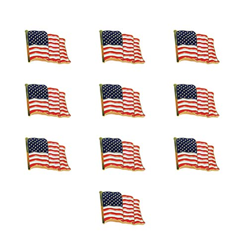 Amosfun 10 unids Bandera Americana Broche pechuga Estrellas y Rayas Pin de la Solapa Broche Americana EE.
