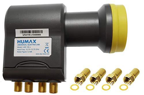 Humax Gold Quattro LNB, digitales Satelliten universal LNB für Multischalterbetrieb inkl. LTE-Filter, Wetterschutzgehäuse und F-Steckern für besten Satempfang in HD, Full HD, UHD, 4K und 8K