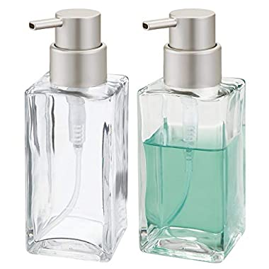 mDesign Square Glass Refillable Liquid Soap Dispenser Pump Bottle for Bathroom Vanity Countertop, Kitchen Sink - Holds Hand Soap, Dish Soap, Hand Sanitizer, Essential Oils - 2 Pack - Clear/Satin
