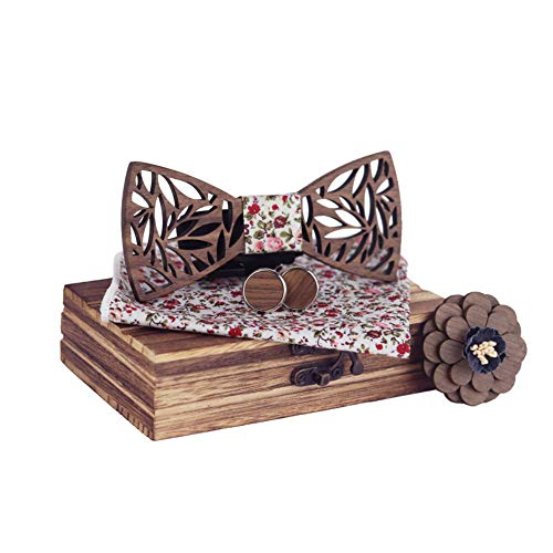 Gemelos De Madera De Alta Gama Para Hombre Corsage Bow Tie Box Set Arco De Madera Hecho A Mano