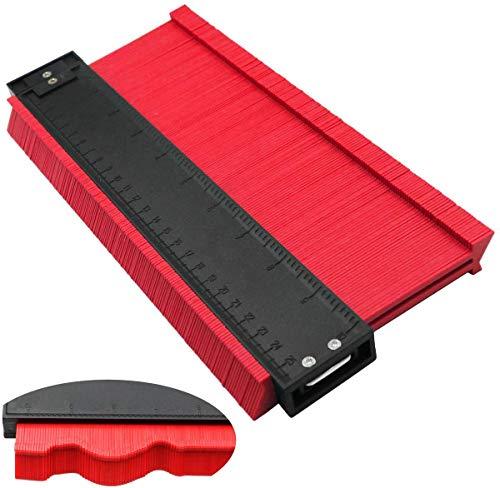 型取りゲージ コンターゲージ 250mm 目盛り付 定規 測量工具 レッド (拡張バージョン 13cm幅)