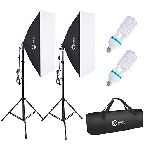 OMBAR Softbox Iluminacion Kit Fotografia con 2 Softbox 50×70cm y 2 Bombilla de Luz 135W 5500K E27 y 1 Bolsa de Transporte, para Videos de Retrato de Estudio, Luz para Estudio Fotográfico Profesional