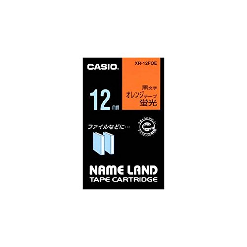 (まとめ) カシオ CASIO ネームランド NAME LAND スタンダードテープ 12mm×5.5m 蛍光オレンジ/黒文字 XR-12FOE 1個 【×5セット】 ds-1570249