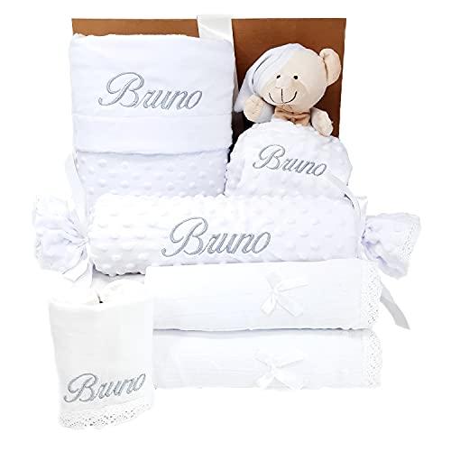 Mi Capricho Mabybox - Regalo para Bebé Personalizado - Cesta de Recién Nacido con Manta personalizada y Dou Dou (Blanco)