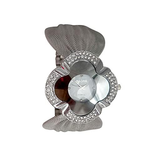 Reloj de Acero Inoxidable Reloj de Cuarzo para Mujer Reloj de Pulsera con Diseño de Pulsera con Esfera Redonda de Diamantes de Imitación Reloj de Pulsera con Tiras de Malla para