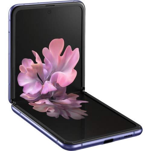 Samsung galaxy z flip factory unlocked cell phone |us version - single sim | 256gb of storage | folding glass technology | long-lasting battery | us warranty | mirror purple (renewed)