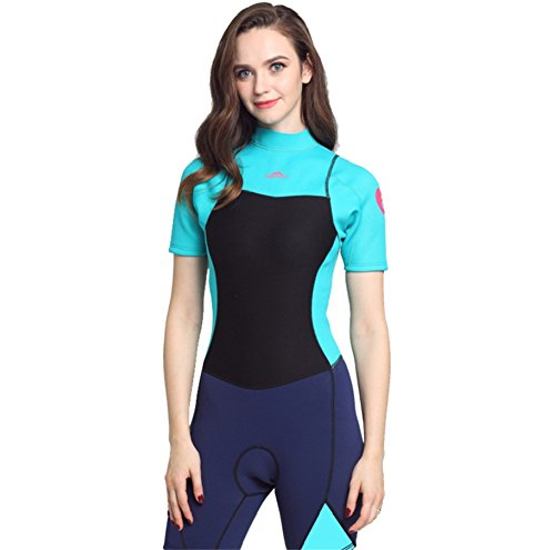 XDXART Mono de neopreno para mujer de 2 mm de manga larga de neopreno, traje de buceo de medusas (azul, XL)