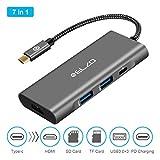 ELZO Hub USB C 4 Puertos USB 3.0 Adaptador Type C para MacBook Pro 2017 2016, iMac, Google Chromebook Pixel, DELL XPS 13, ASUS ZenBook (Gris)