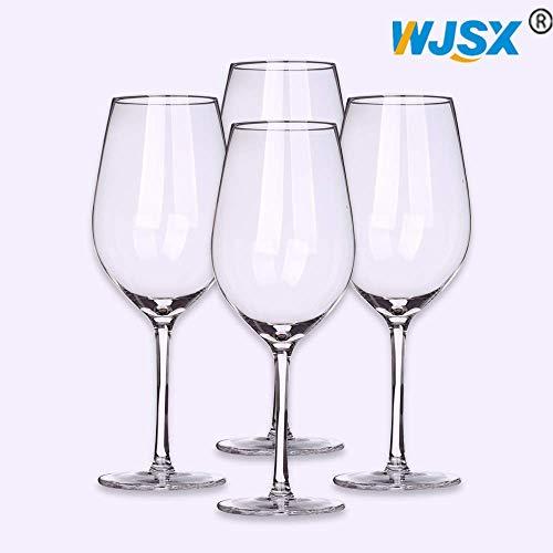 WJSX Rode Wijnglazen 600ml/Set van 4 Lood Gratis Titanium Kristal Wijnglas 21 oz Grote Bowl Lange Stemmed Glaswerk voor Grote Proeverij Wijn Perfect Bruiloft Verjaardag & Gift