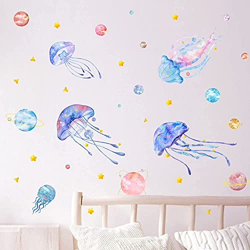 Colorful Jellyfish Wall Stickers, Ocean of Stars Themed Wall Decals, Watercolor Space Planet Star Decals, Under The Sea Wall Sticker, DIY Wall Art for Bedroom Living Room Bathroom Window Wall Decor