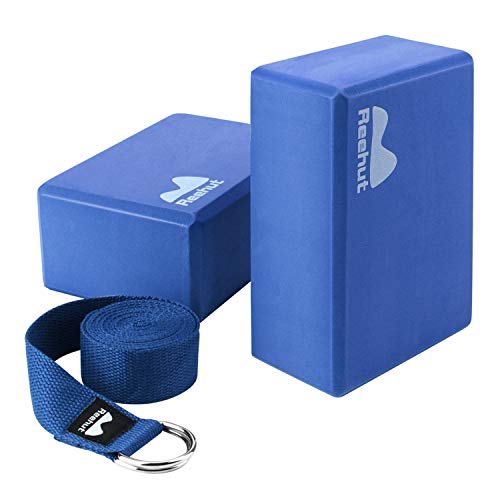 "REEHUT Yoga Block 2 Pack and Metal D Ring Yoga Strap 1 Pack Combo Set, 9"" x 6"" x 4""High Density EVA Foam Block to Support and Deepen Poses, 8FT Yoga Belt for Stretching, General Fitness (Blue)"