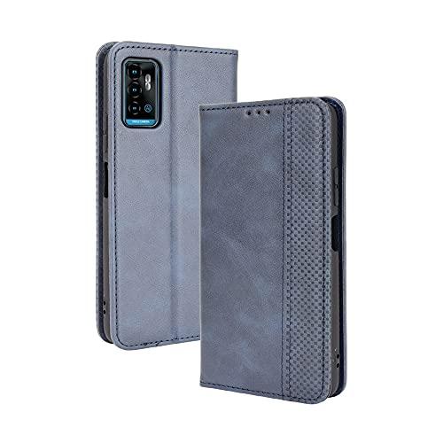 WEIOU Hülle für ZTE Blade A71, Premium TPU/PU Leder Klappbar Schutzhülle Tasche Handyhülle mit Standfunktion und Kartensteckplätzen, Blau