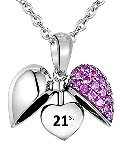 21 Birthday Necklace & Pendant inscribed 21st - Women's S925 Sterling Silver Love Heart with Purple Crystals