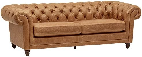 Best Amazon Brand – Stone & Beam Bradbury Chesterfield Tufted Leather Sofa Couch, 92.9