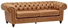"""Create a lounge-worthy living room with this modern chesterfield sofa. Rich brown leather upholstery, along with a high back and arms, invites you to curl up to read a good book or take a catnap. 92.9''W x 39""""D x 30.3""""H Engineered wood frame and 100%..."""