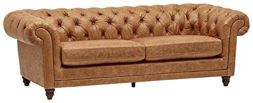 Amazon Brand – Stone & Beam Bradbury Chesterfield Tufted Leather Sofa Couch, 92.9