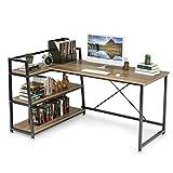 Cyfie L-Shaped Computer Desk with Bookshelf Switchable 3-Tier Storage Shelf, 60'' Corner Writing Desk, X-Frame Reinforced Design Workstation Gaming Table for Rental House, Home, Office, Bedroom, Study