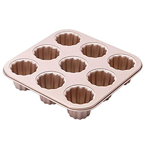 Cannele Mold Cake Pan – 9 Cavity Non-Stick Baking Carbon Steel Caneles Moulds,Muffin Bakeware,French Custard Coffee Cake Traditional Pastry(9-Cavity)