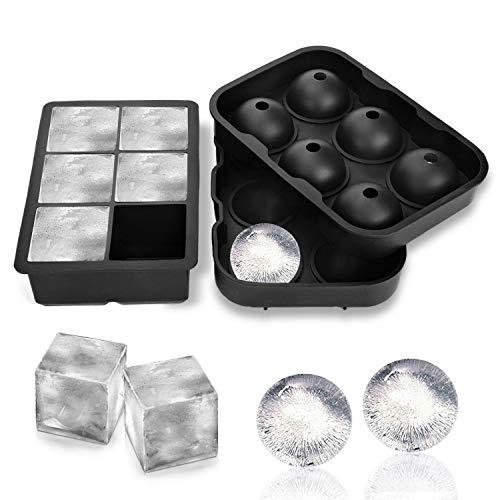 Stampi in silicone per palline di ghiaccio a sei fori Alfheim Stampi per palline di ghiaccio, set di 2, creatore di sfere di ghiaccio con coperchio e grandi stampi quadrati, riutilizzabili e senza BPA