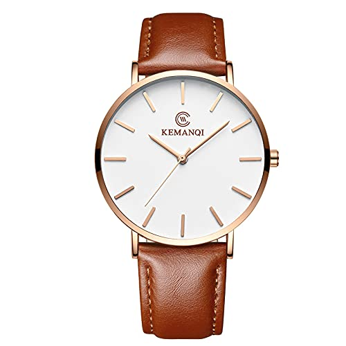 ZRSJ Watch Men's Steel Cinturón de Acero Impermeable Cinturón de Cuero Especial Reloj para Hombres Ultra-Delgado Simple Estudiante Ocio Moda Marea Tide Cuarberos 'Reloj(Blanco)