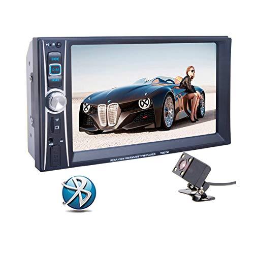 GOFORJUMP Autoradio Multimedia Lecteur MP5 12V 2 Din Bluetooth Stéréo FM en Commande de Volant Fonction de Mise en Miroir pour Smartphones Android