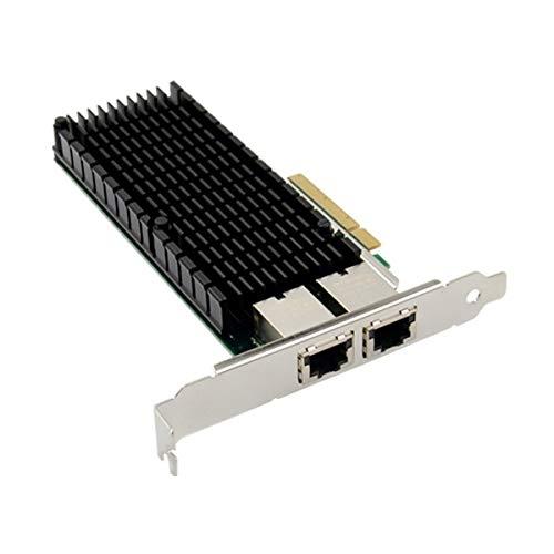 ASHATA PCIE X8 Gigabit Tarjeta de Red para Intel X540 - Dual Puertos RJ45 10GBASE-T Adaptador de Red, Tarjeta LAN Ethernet PCI Express 10G, 100/1000/10000Mbps para Windows Servidor, Win7, 8, 10,Linux