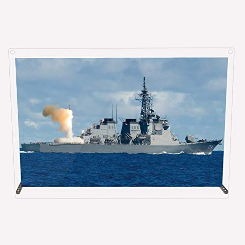 CuVery アクリル プレート 写真 海上自衛隊 護衛艦 DDG-174 きりしま デザイン スタンド 壁掛け 両用 約A3サイズ