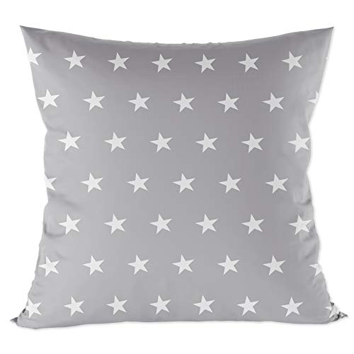 funda cojin 40x40 - funda almohada bebe de algodón fundas de cojines decorativos para niños cojin infantil Gris con estrellas