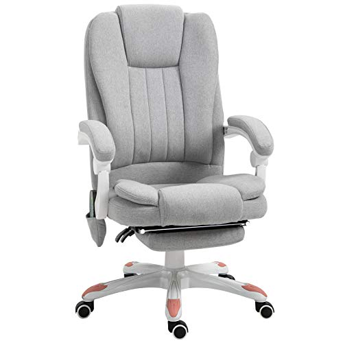 Vinsetto Massage Sessel, Bürostuhl, Gaming Stuhl, Polyester, Schaumstoff, Nylon, Grau, 55,5 x 56,5 x 107-115 cm