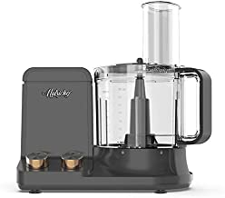 NutriChef NCFPG9 Multipurpose & Ultra Quiet Powerful Motor, Includes 6 Attachment Blades 12 Cup Multifunction Food Processor, Up to 2L Capacity, Pre-Set Speed Function Black Chrome, Space Gray