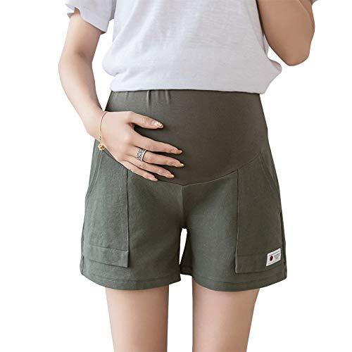 U/A Umstandsshorts für die Schwangerschaft Sommerkleidung Baumwolle Leinen Weite Beinhose Frauen Schwangere Oberbekleidung Kurze Mutterhose Lässig