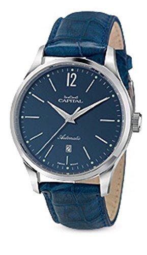 Capital Time AT1048 - Reloj automático para hombre con correa de piel de cocodrilo