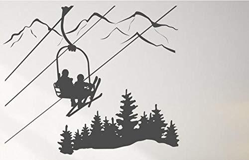 Axlgw Skiën Wandsticker Woonkamer Skier Ski Lift Stoel Mountain Pine Tree Sticker Wintersport Vinyl Muurstickers Home Decor Grootte 50X42 cm