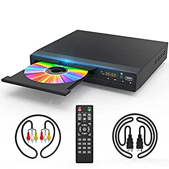 DVD Player with HDMI AV Output DVD Player for TV HD 1080P Upscaling with Coaxial Output/HDMI AV Cable/Remote Control/USB Input Region Free Home DVD Players Recorders