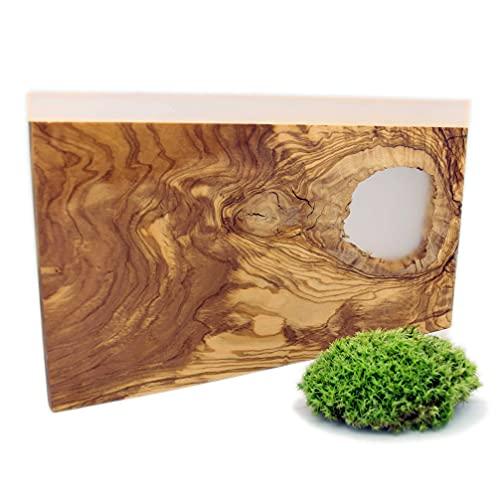 Tabla de cortar de madera maciza de olivo y resina epoxi, bandeja para queso de madera, bandeja para aperitivos, pan, bandeja de presentación y servicio decorativo y moderno ideal para la cocina