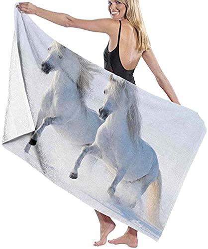 Telo Mare Grande 130 ×80cm, Animale bianco cavallo invernale,Asciugamano da Spiaggia in Microfibra Asciugatura Rapida,Ultra Morbido,Uomo,Donna,Bambina