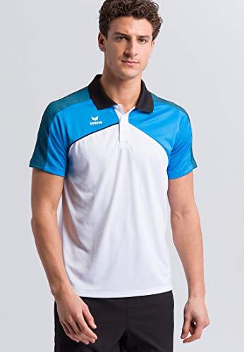 Erima Herren Premium ONE 2.0 Poloshirt, weiß/Curacao/Schwarz, XXL
