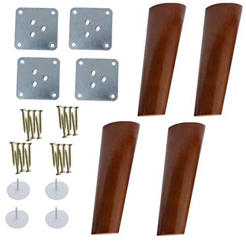 7-Zoll-Möbel aus Holz, Beine für Sofa, Stuhl, Tisch, Büro, Schrank, Schränke, Bank, schräg, 4 Stück, Farbe Nussbaum