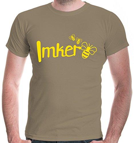 buXsbaum Herren T-Shirt Imker | Biene Honig Bienenzüchter Bienenflüsterer Bienenvolk | M, Beige