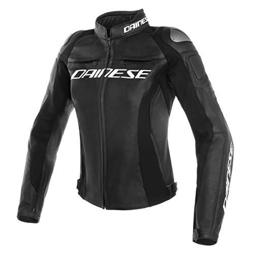 Dainese Motorradjacke mit Protektoren Motorrad Jacke Racing 3 Damen Lederjacke schwarz 44 (M), Sportler, Sommer