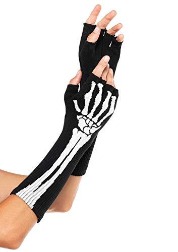 Leg Avenue Women's OS Woven Skeleton Fingerless Gloves, Black, One Size