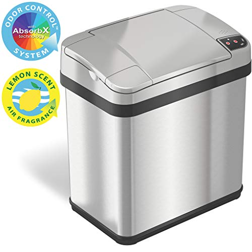 iTouchless 2.5 Gallon Bathroom Touchless Trash Can with Odor Filter and Fragrance, Automatic Sensor...
