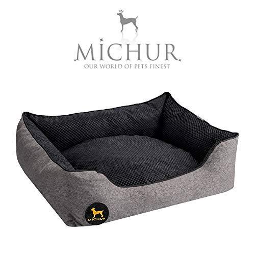 Michur Hundebett Sven, waschbares Tier Sofa für Katzen und Hunde in edlem anthrazit/Carbon, mit beidseitig anwendbarem Kissen, Hundekörbchen, Hundesofa, Hundekissen, Hundekorb, 65 cm x 55 cm x 18 cm