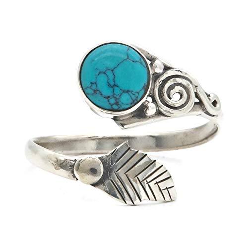 Türkis Ring 925 Silber Sterlingsilber Damenring blau grün verstellbar (MRI 149-15)