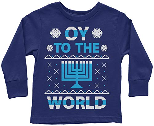 Threadrock Kids Oy to The World Hanukkah Toddler Long Sleeve T-Shirt 2T Navy